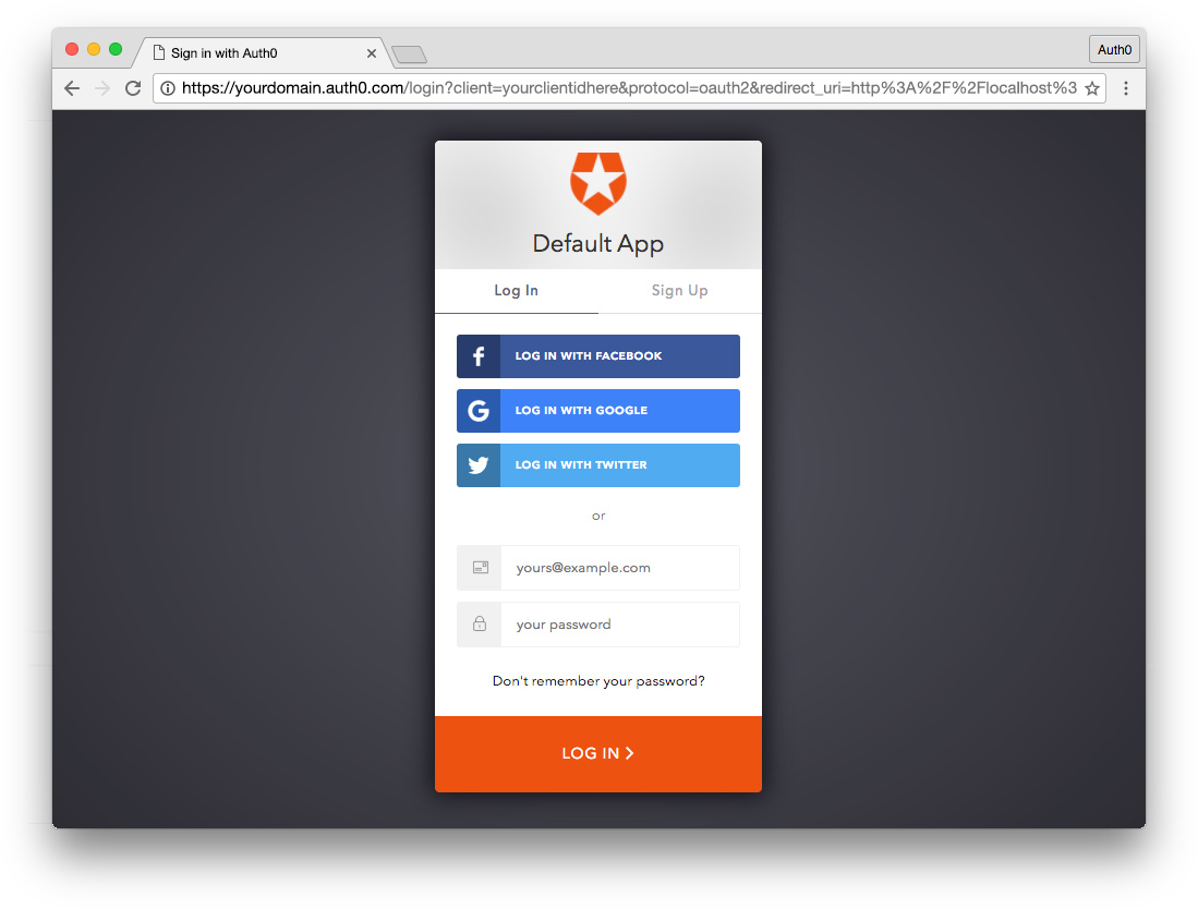 Auth0 hosted login screen