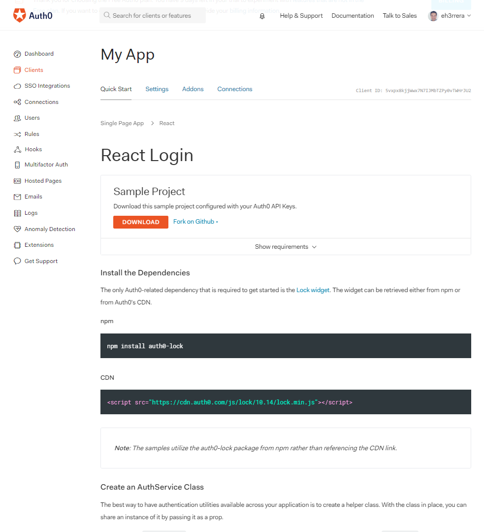 Downloading Auth0 Quickstart