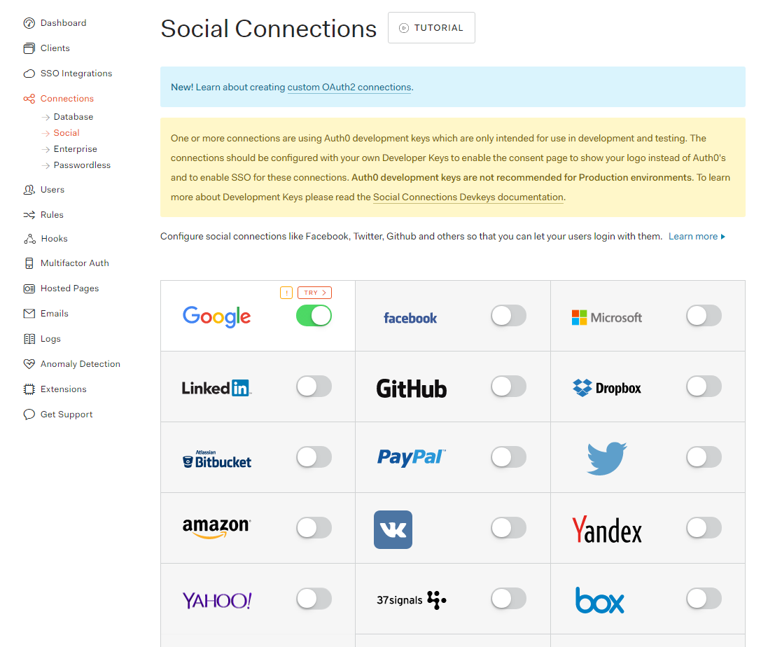 Auth0 Social Connections