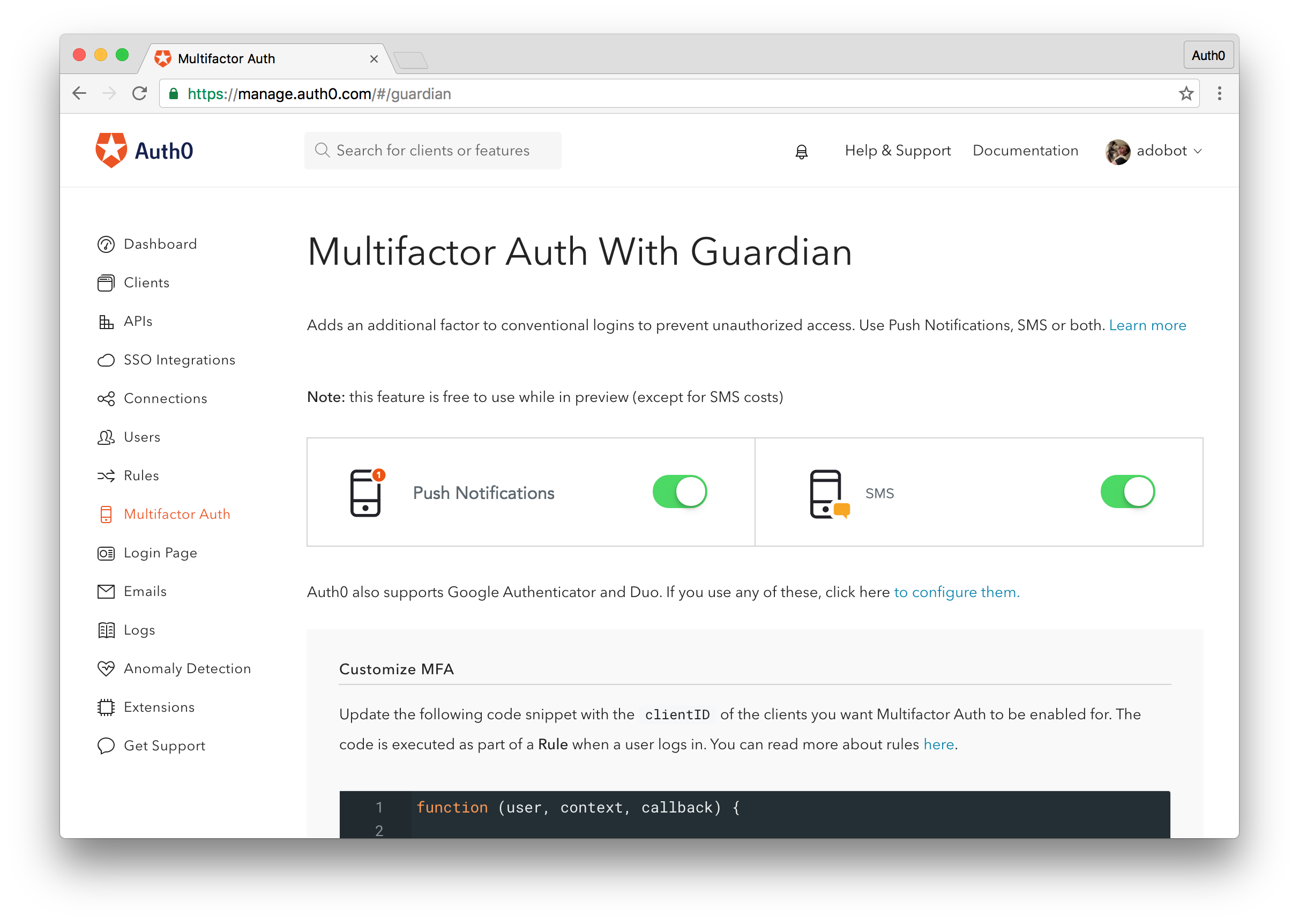 Two Factor Authentication (2FA) - Auth0