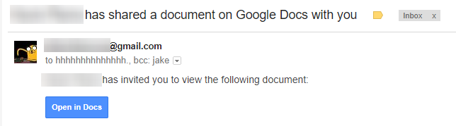 Email claiming a document had been shared