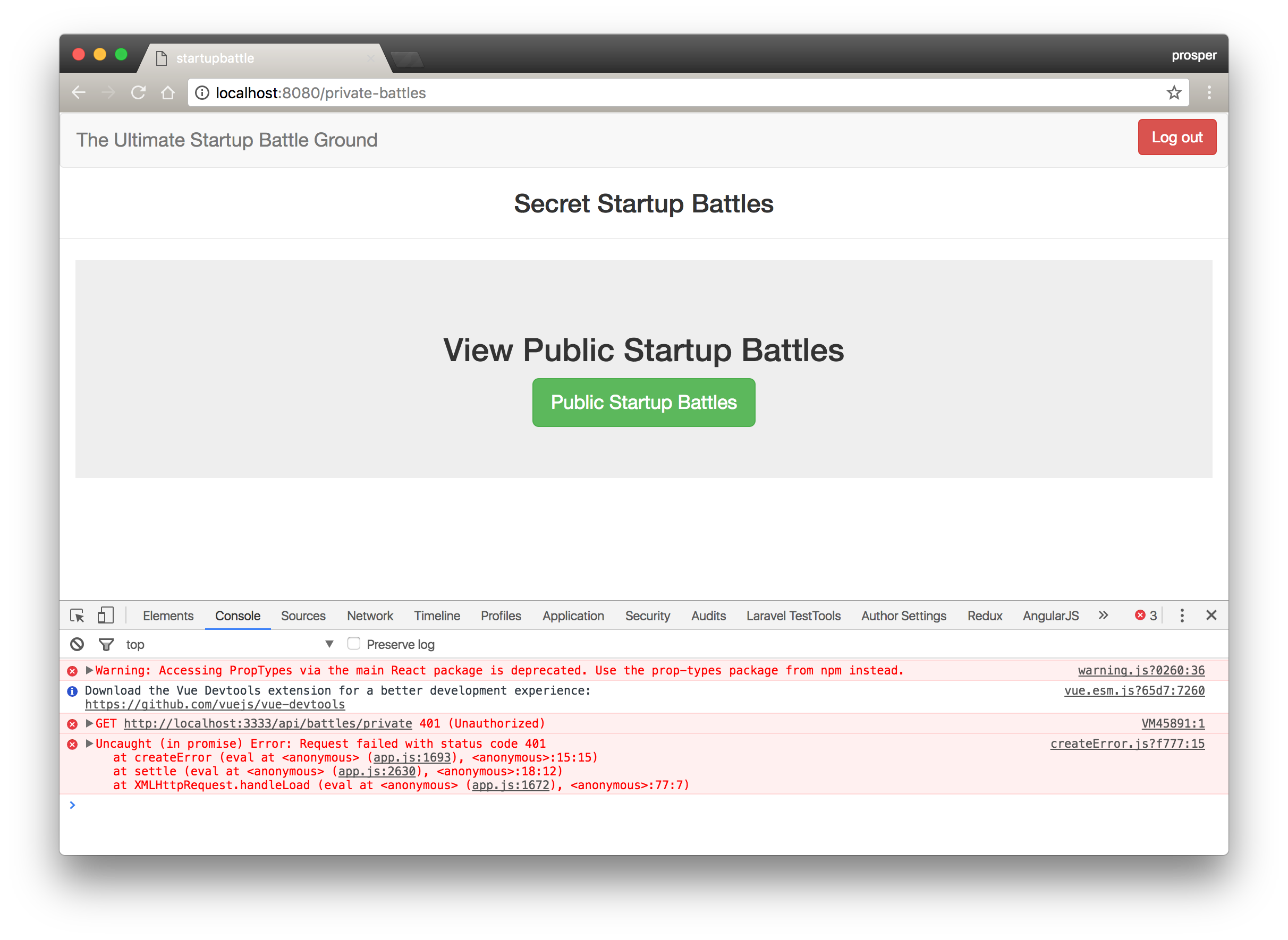 Logged In and Unauthorized to see the Private Startup Battle