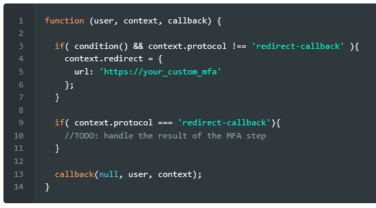 Programming logic - if condition and context then redirect to a custom MFA service