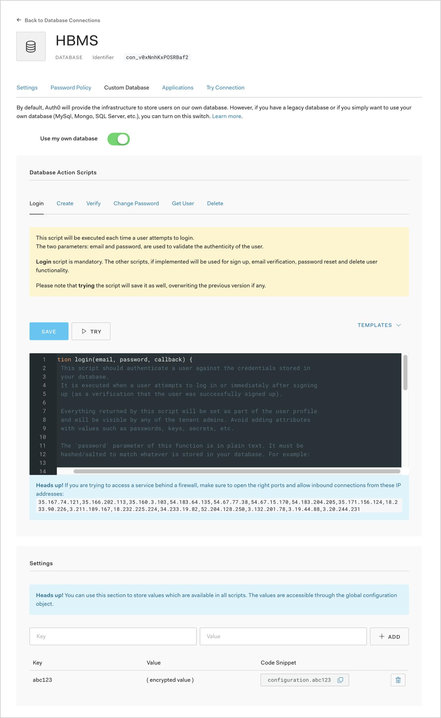 Custom Database Configuration