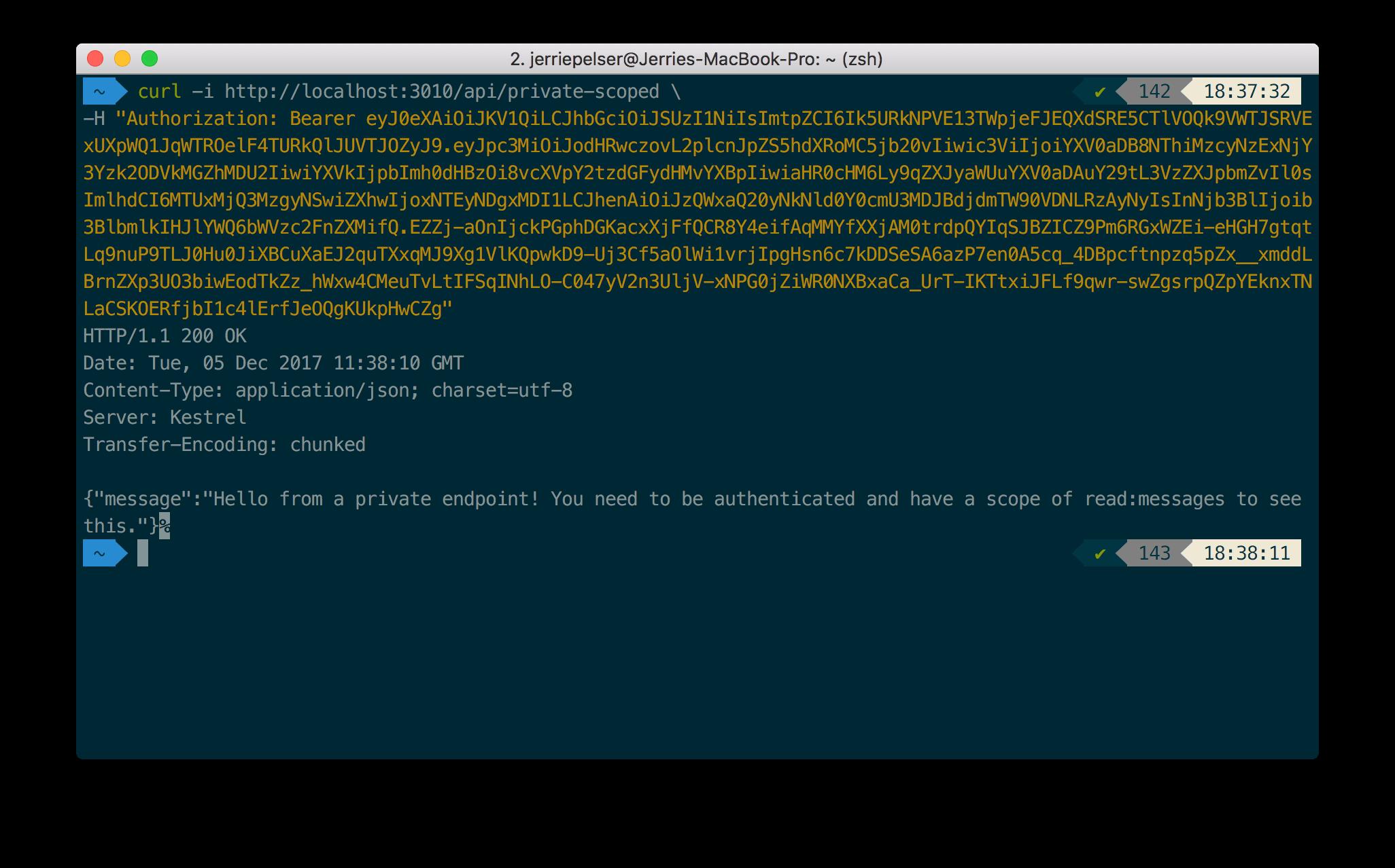 Response for scoped API request