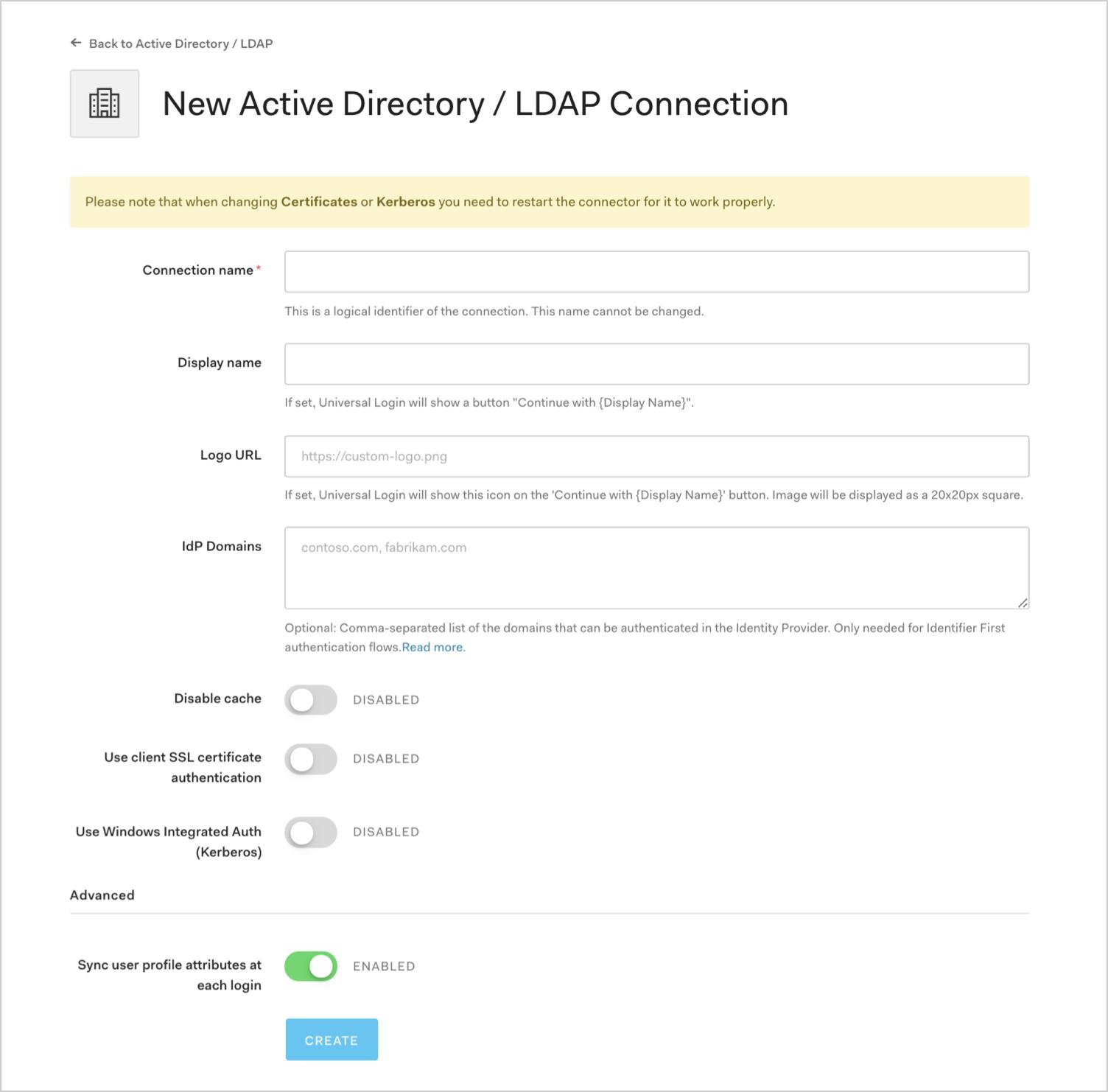 Enter AD / LDAP Connection Details
