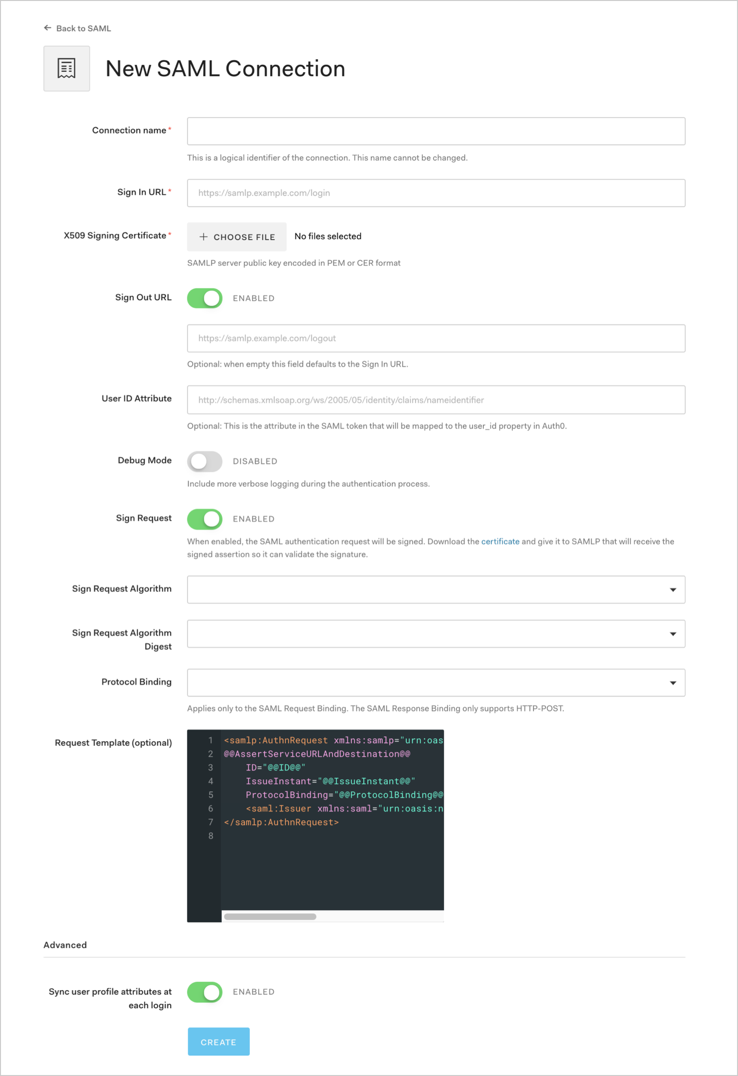 Configure SAML Settings