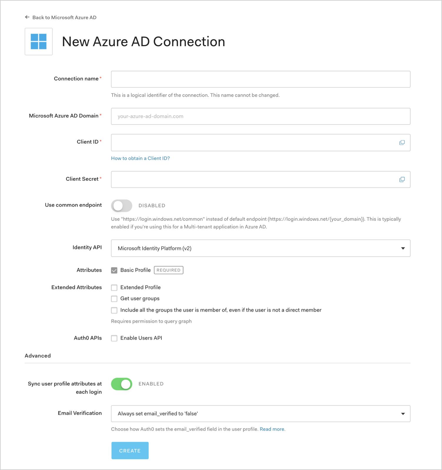 Configure Microsoft Azure AD Settings