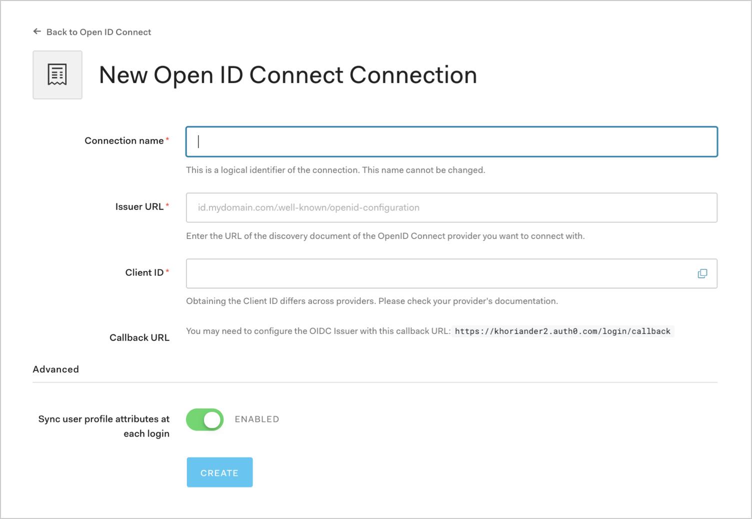 Enter OIDC Connection Details