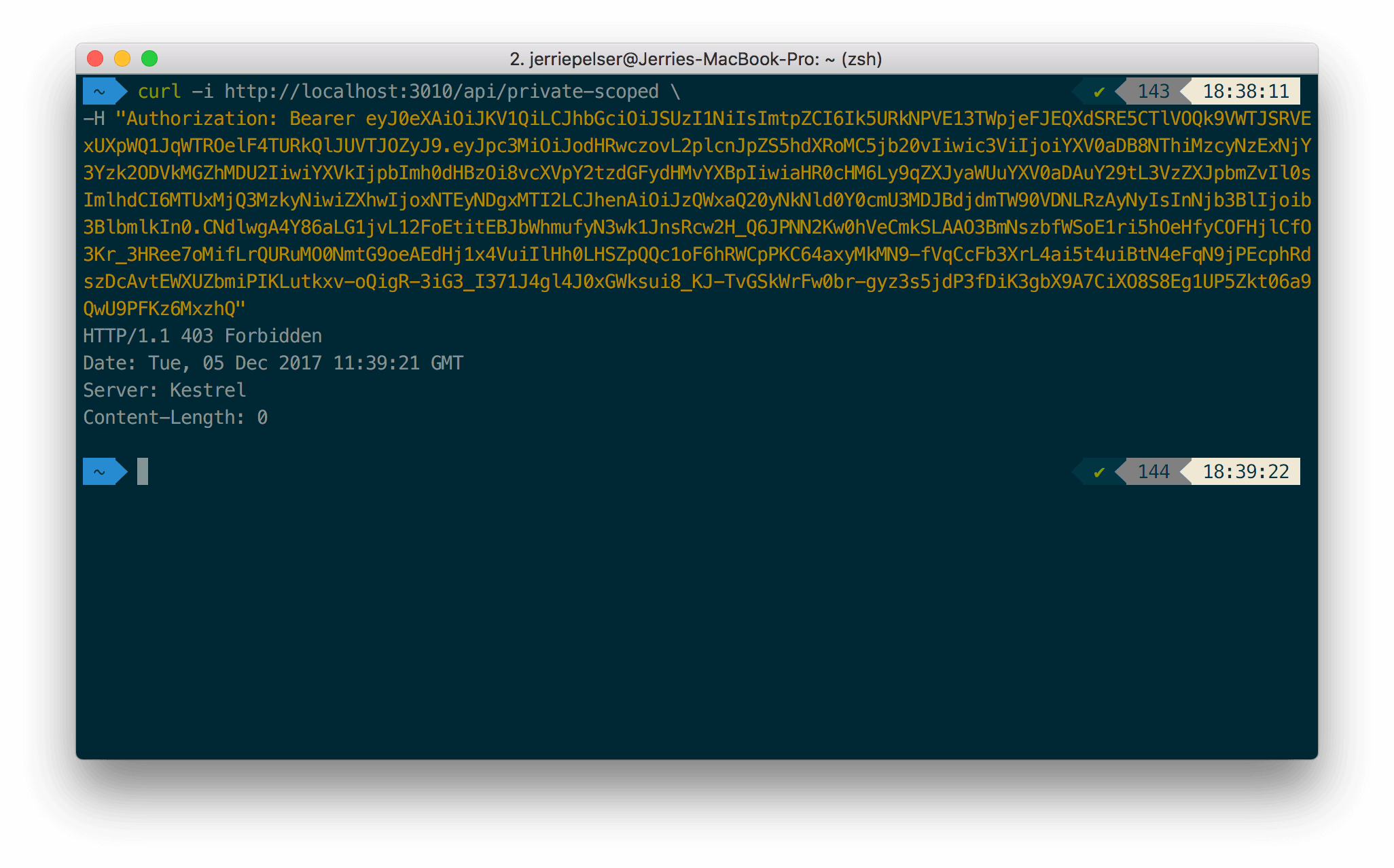 Response for forbidden scoped API request