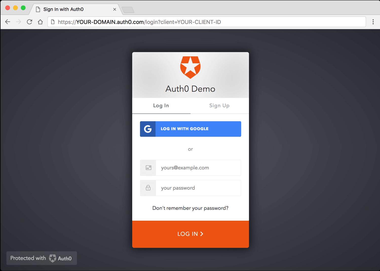 Default Login Screen for Native/Mobile Apps