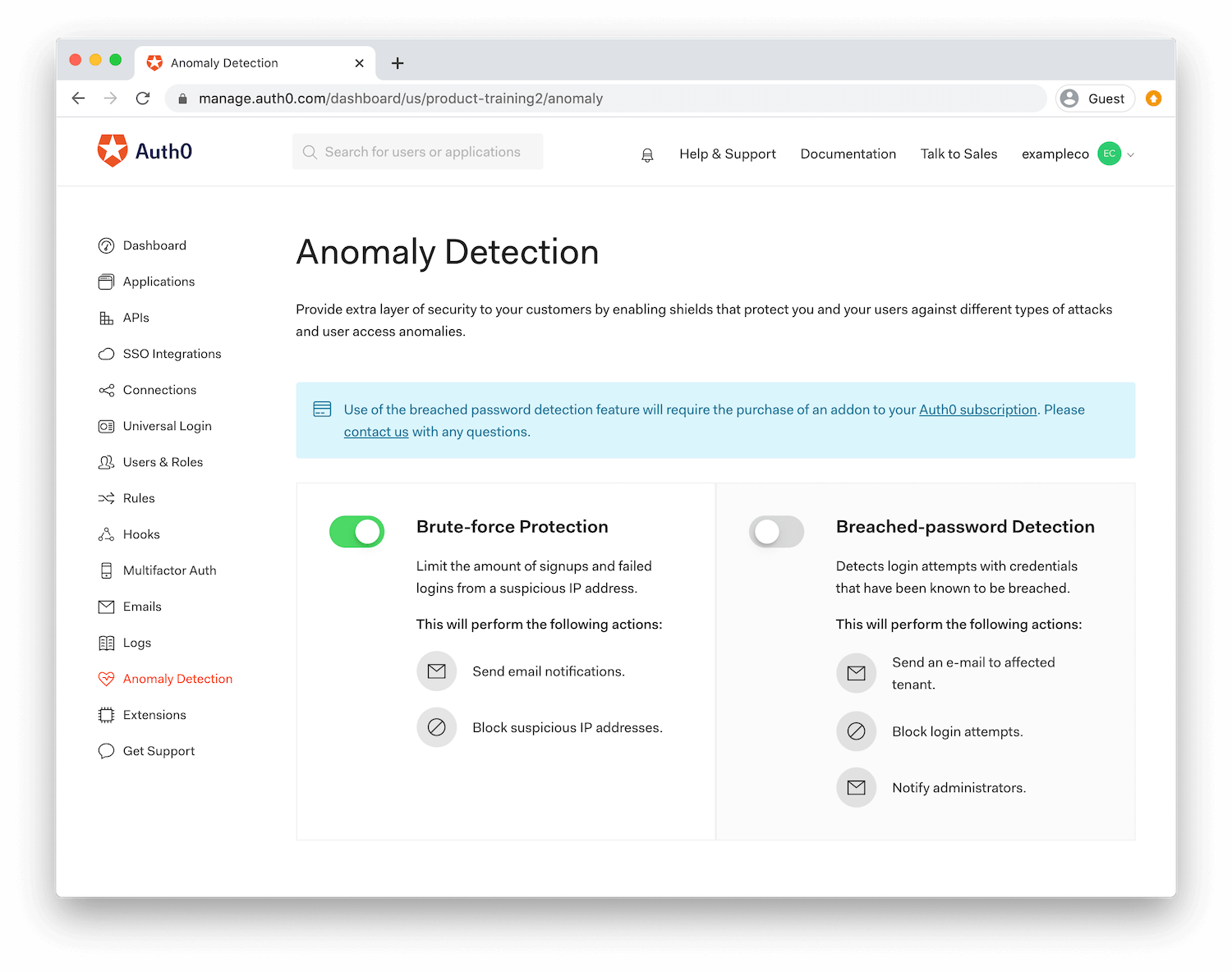 Auth0's Anomaly Detection dashboard