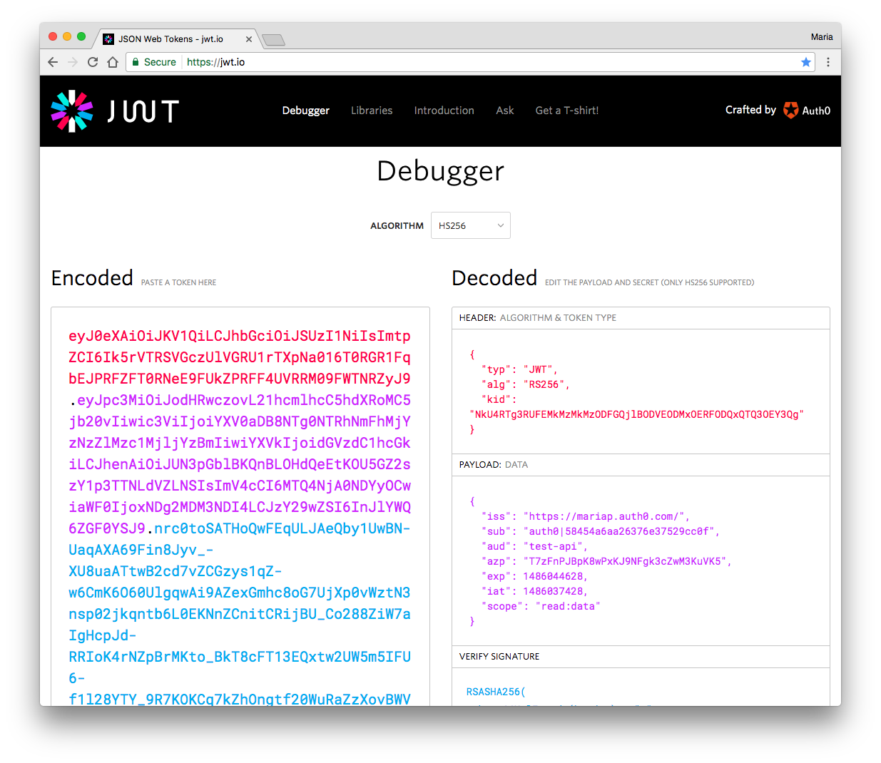 Decode JWT with JWT.io