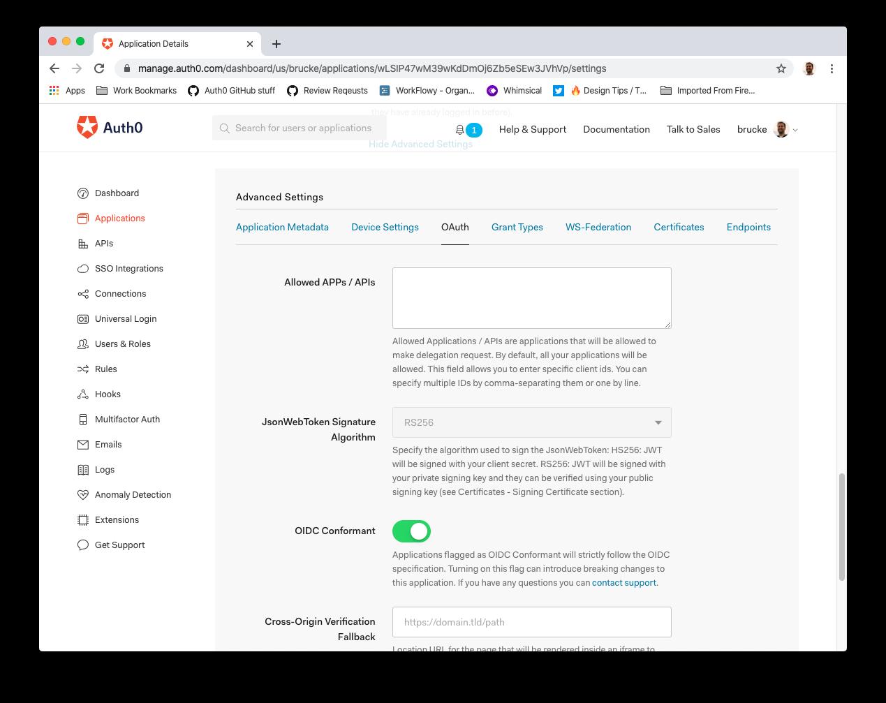 Token Signature Algorithm configuration