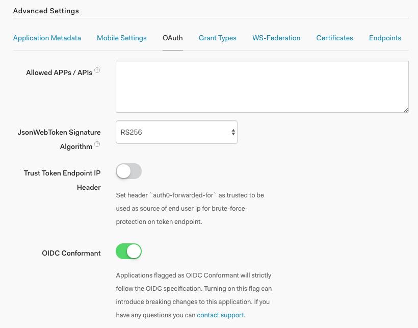 Application - Advanced Settings - OAuth