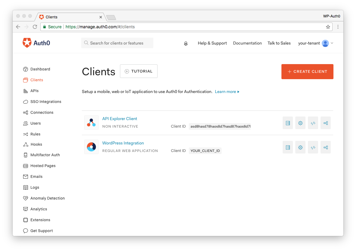 Listing of Auth0 Applications in the Management Dashboard
