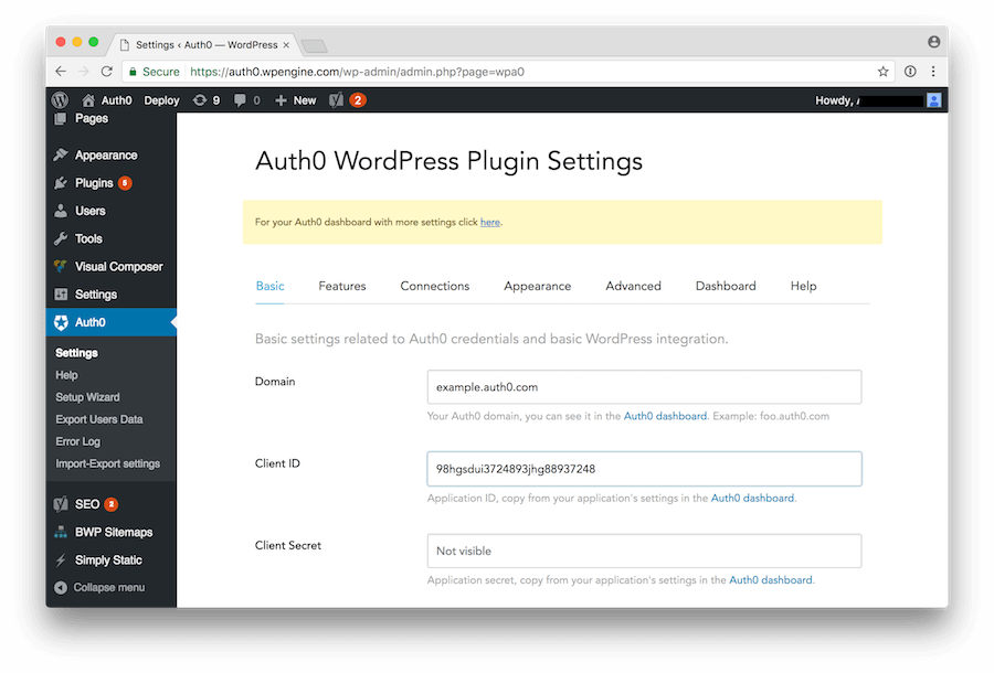 Providing Auth0 Client Settings to WordPress