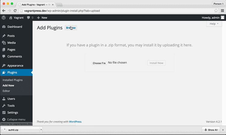 Selecting the Plugin File to Upload Manually