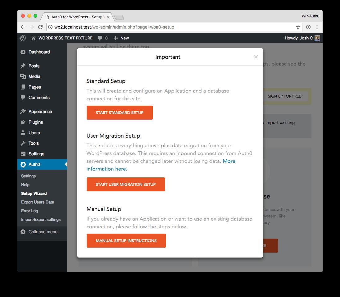 WordPress Installation select setup type