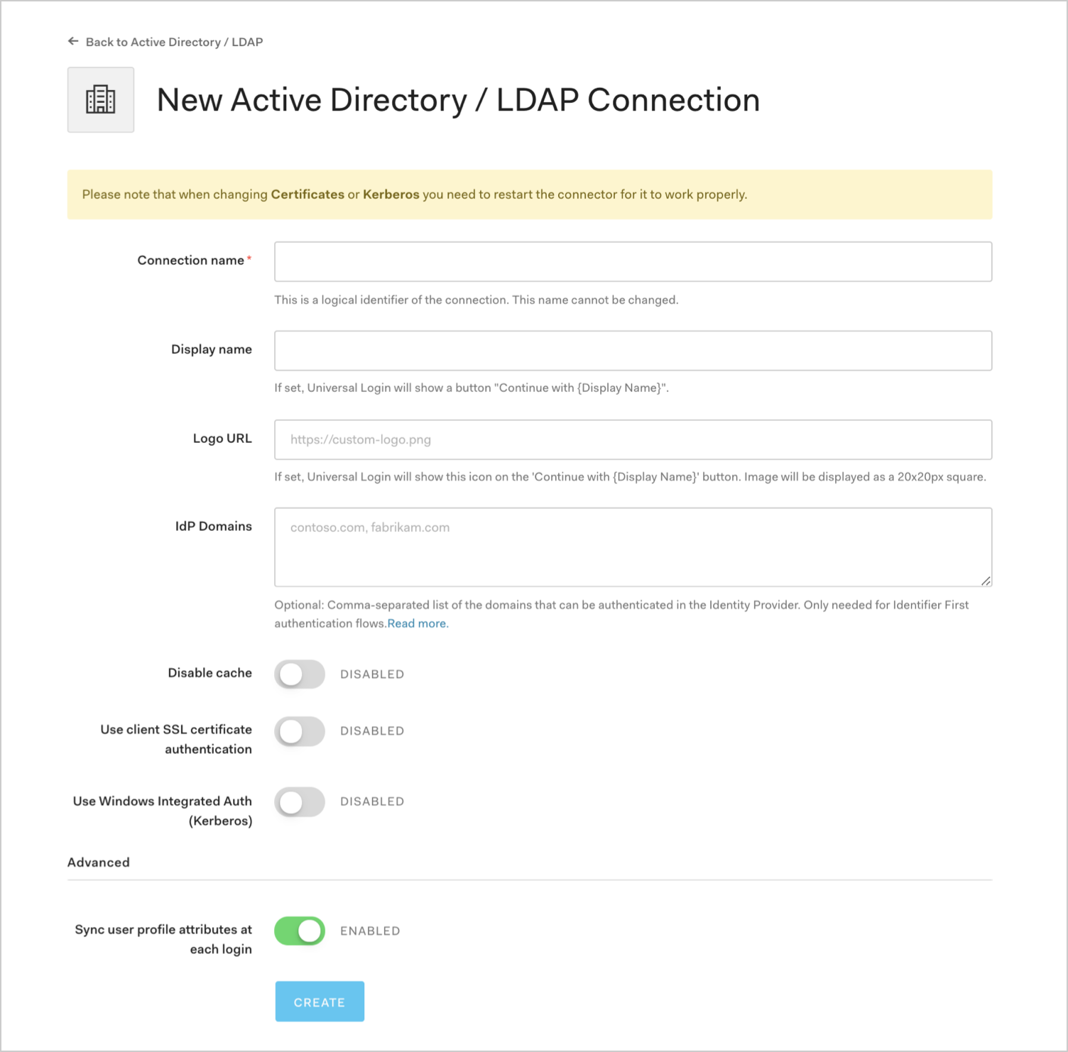 Enter AD / LDAP Connection Details