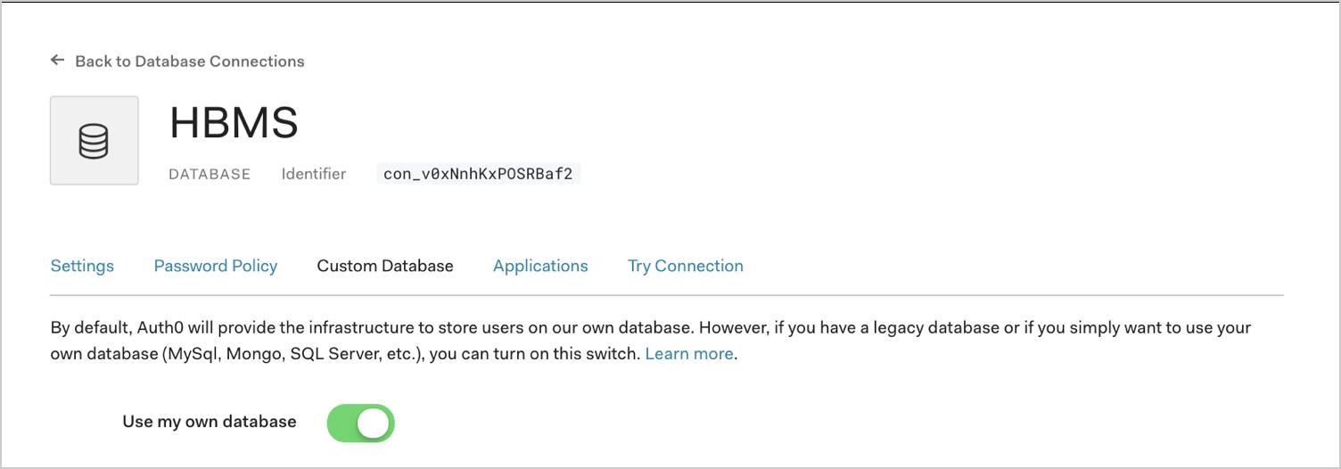 Enable Use Own Database Option