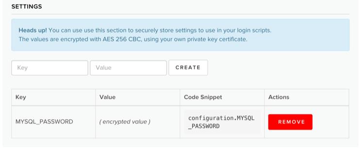 Custom database settings