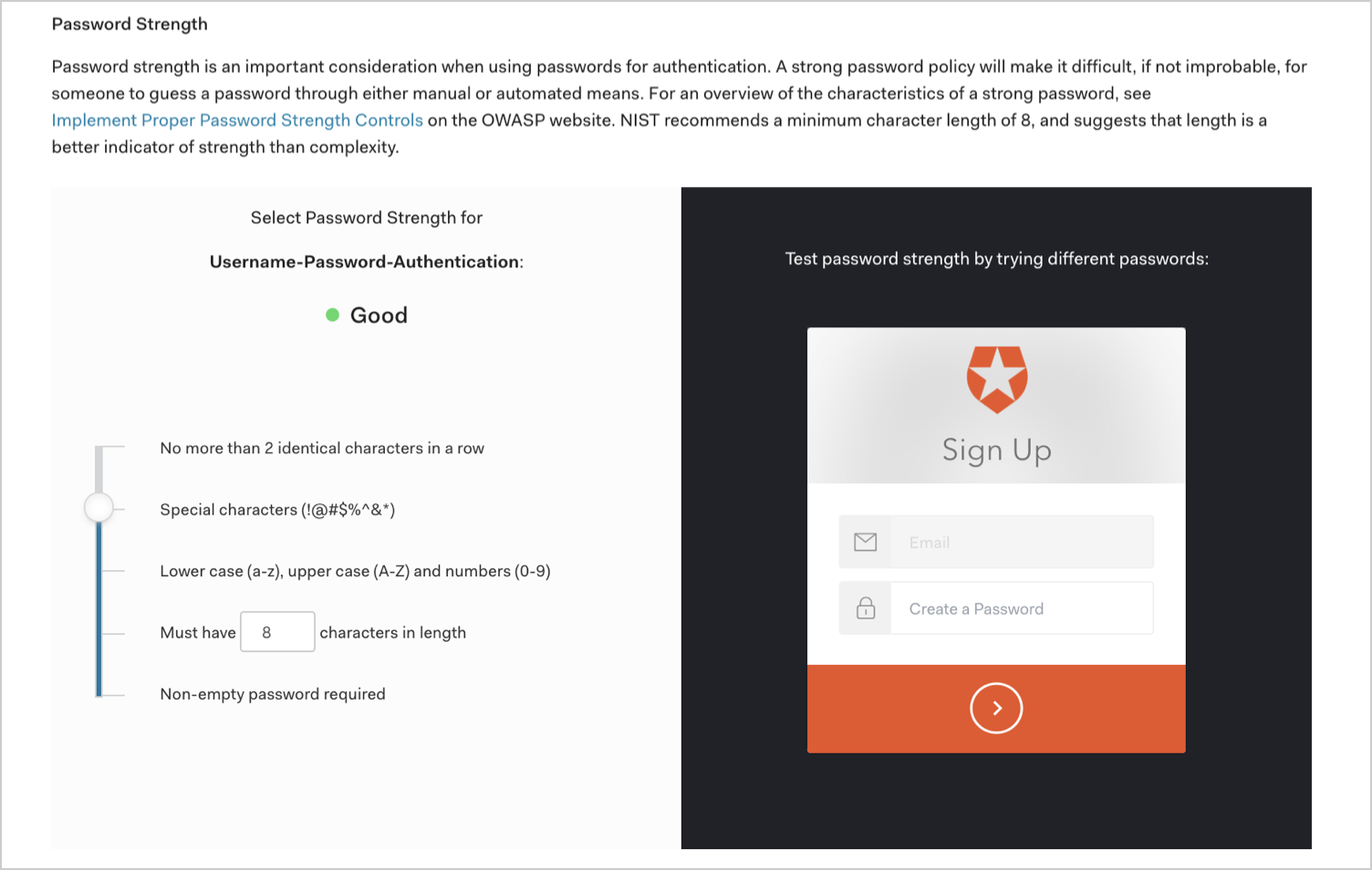 Auth0 Database Authentication - Password Policy - Password Strength
