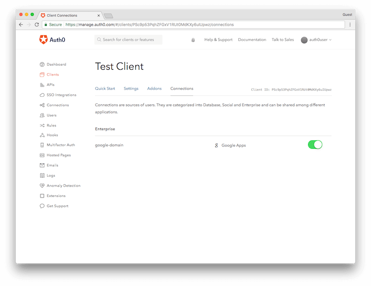 Auth0 Application Connections
