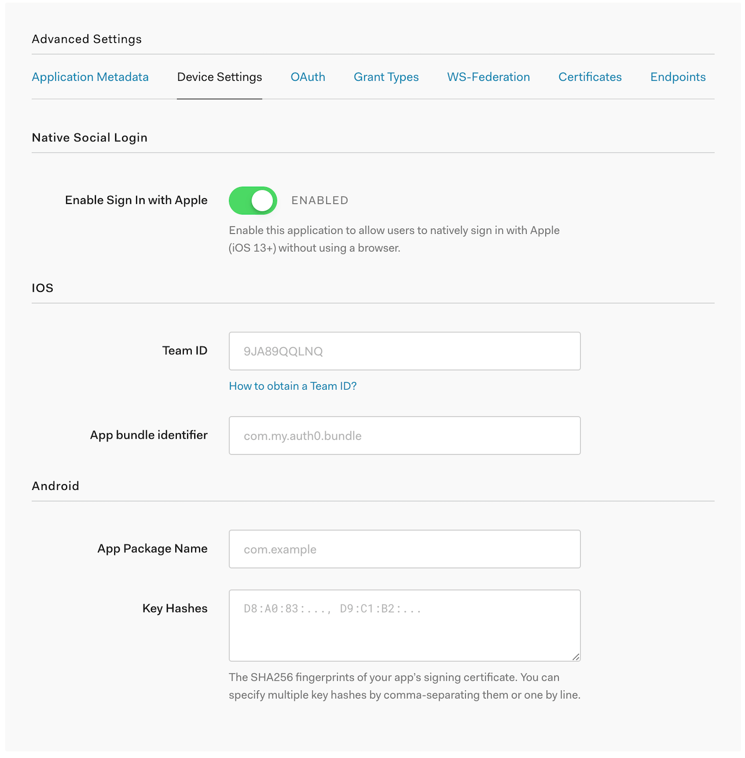 Application Client Settings: Advanced Device Settings