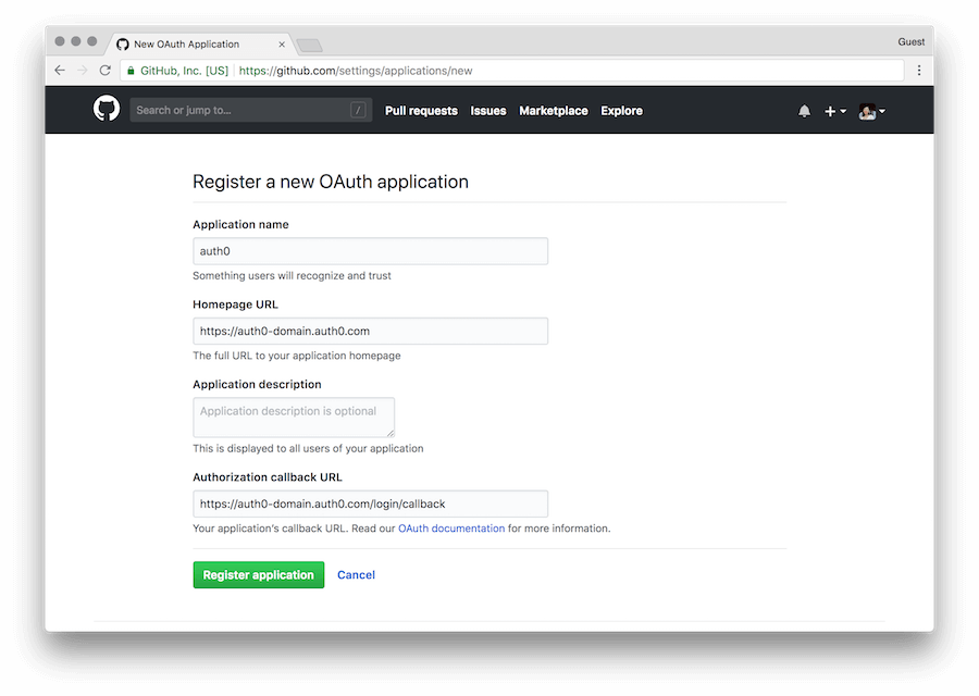 Connect your app to GitHub