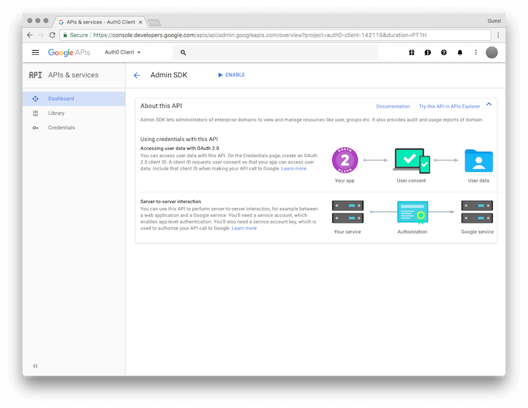 Google API Manager Library