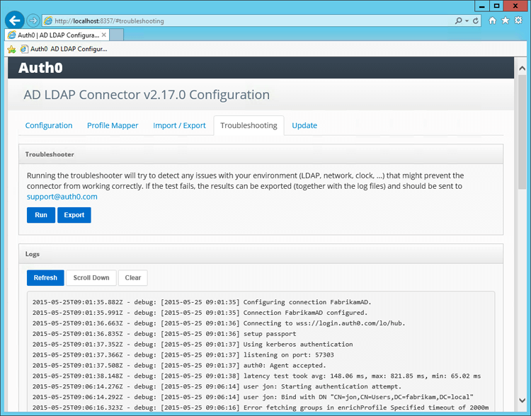 Troubleshooting the Active Directory/LDAP Connector