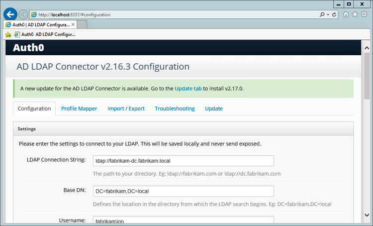 Updating the AD/LDAP Connector