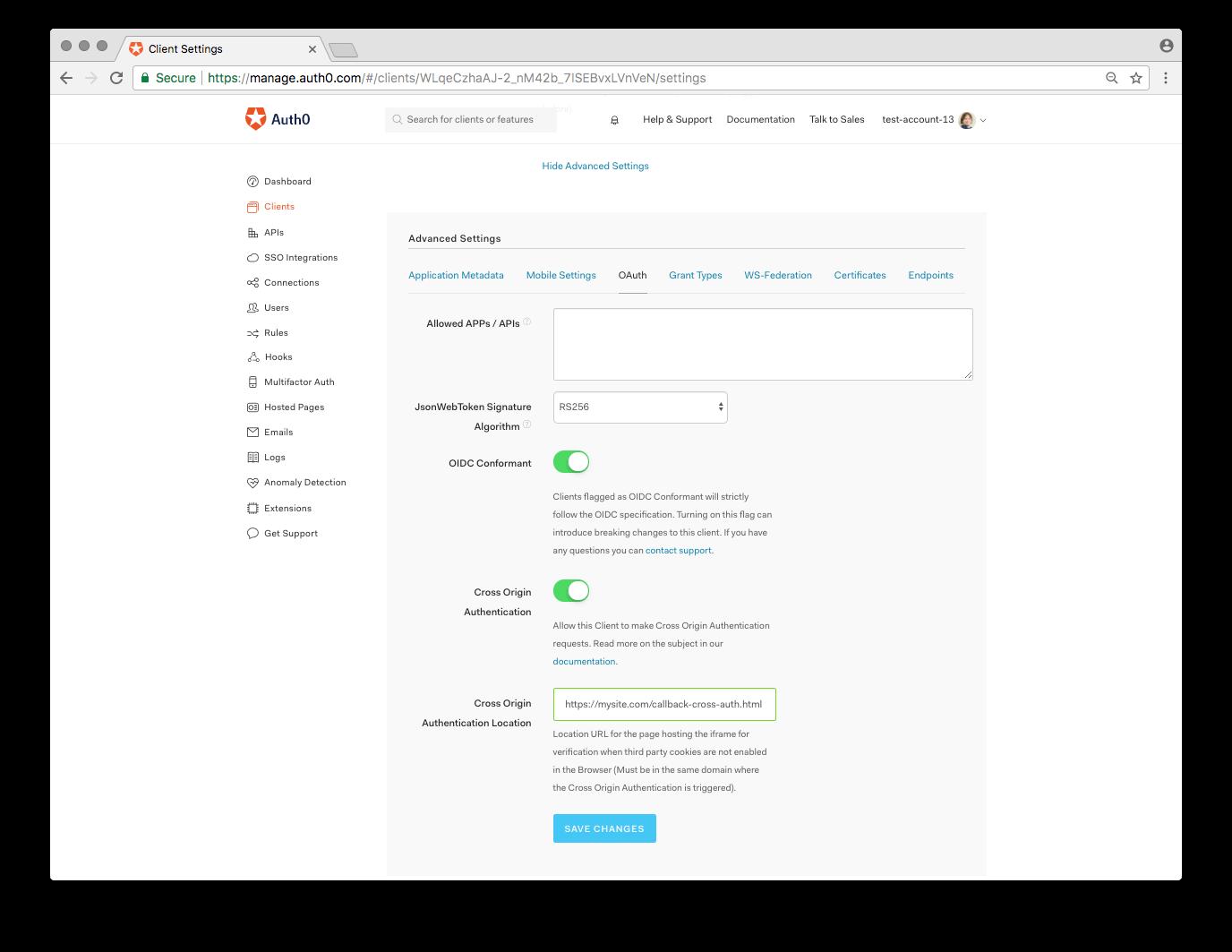 Cross-Origin Authentication switch
