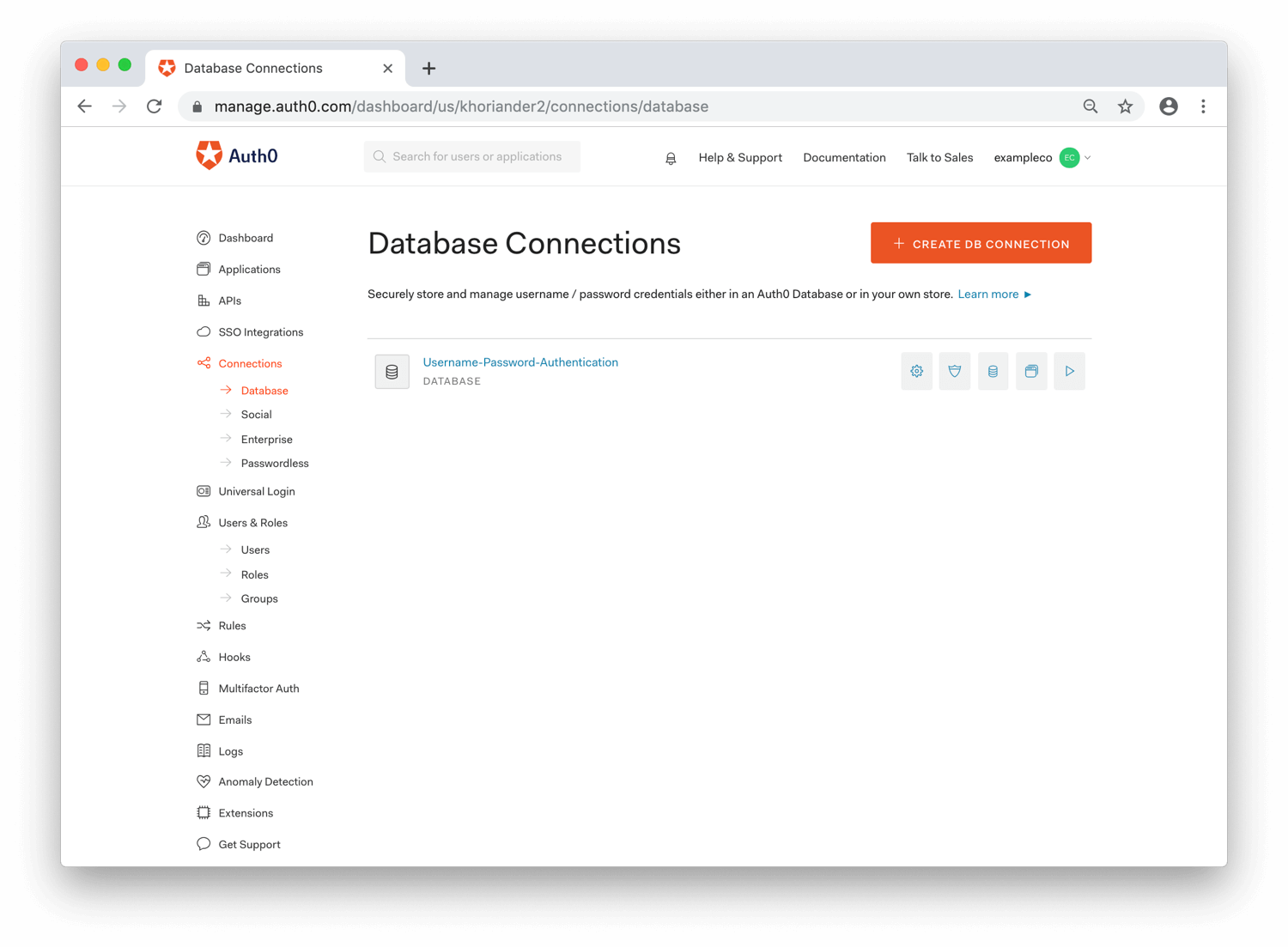 Dashboard: Database Connection List