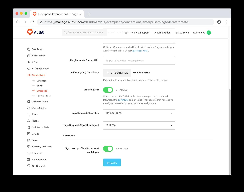 Configure Signing SAML Settings