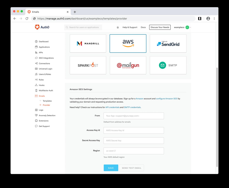 Enter AWS API Email Provider Values