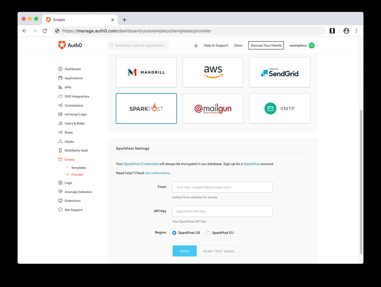 Enter SparkPost Email Provider Values
