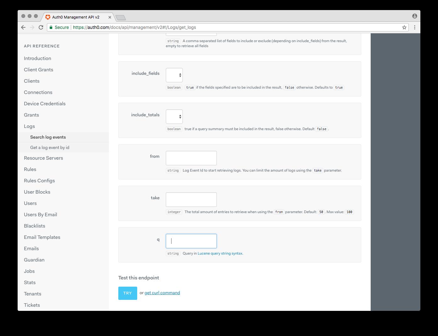 Management API - Logs