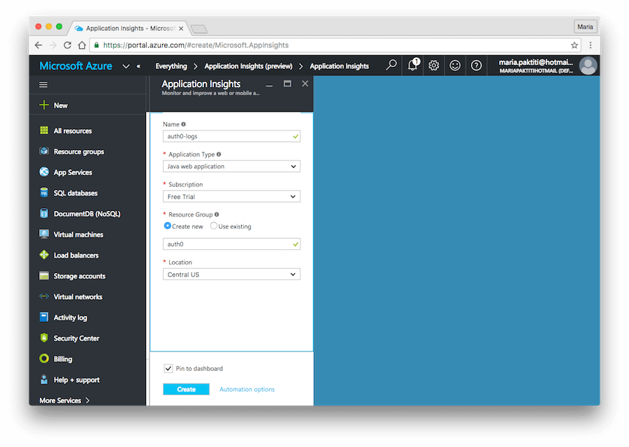 Configure Application Insights instance
