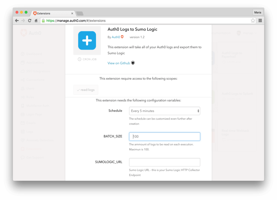 Install Auth0 extension