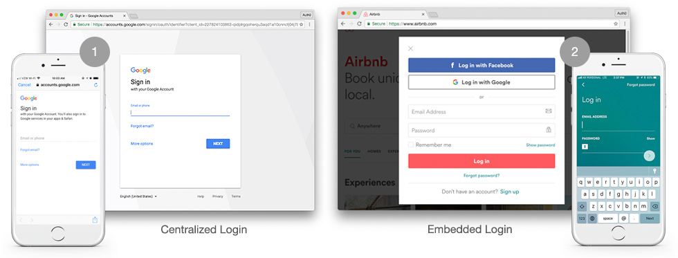 Universal vs Embedded login UX