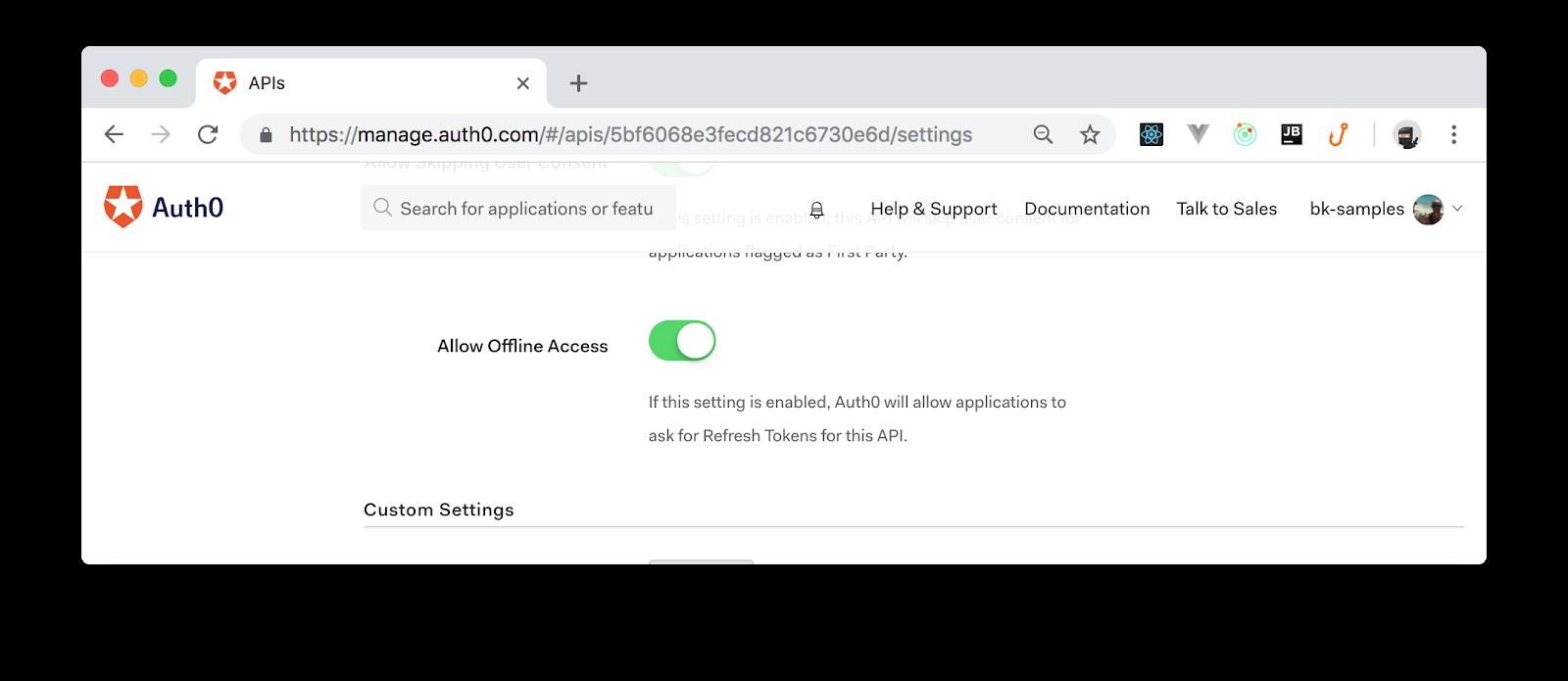 Allow API to grant offline access