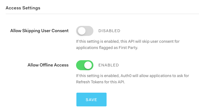 Allow offline access for API