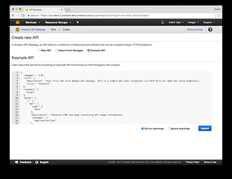 AWS API Gateway Tutorial, Part 2: Import and Deploy the API