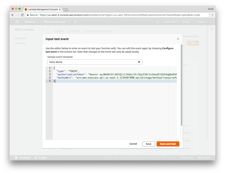 AWS API Gateway Tutorial, Part 3: Create the Custom Authorizers