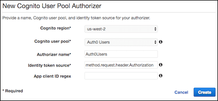 API config page for authorizers