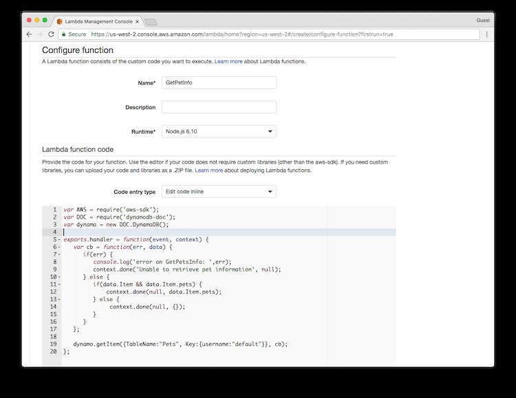 Configure Lambda function