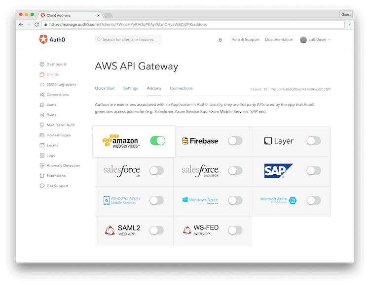 Enable AWS for Application