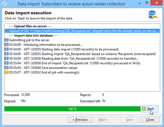 Adobe Campaign Import Wizard Data Import Execution
